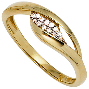 Damen Ring 333 Gold Gelbgold bicolor mit Zirkonia Goldring