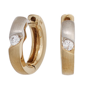 Creolen-rund-585-Gold-Gelbgold-bicolor-matt-2-Diamanten-Brillanten-Ohrringe