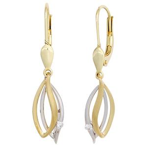Ohrhaenger-585-Gold-Gelbgold-Weissgold-bicolor-2-Diamanten-Brillanten-Ohrringe