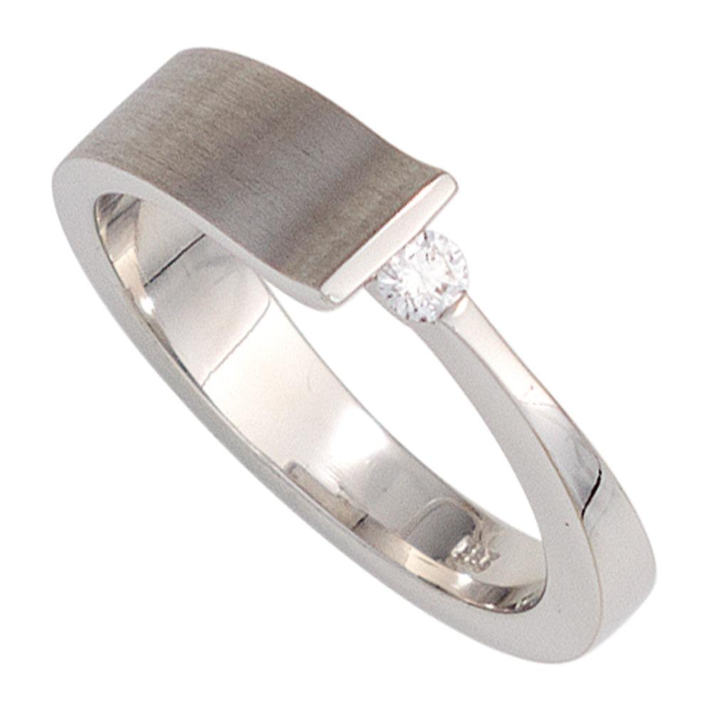 schmuckhandel damenring aus 14 karat 585 wei gold teilmattiert mit einem diamant. Black Bedroom Furniture Sets. Home Design Ideas