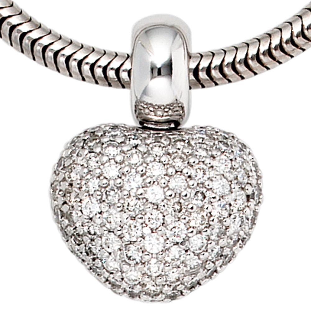 anh nger herz 585 gold wei gold 107 diamanten brillanten herzanh nger ebay. Black Bedroom Furniture Sets. Home Design Ideas