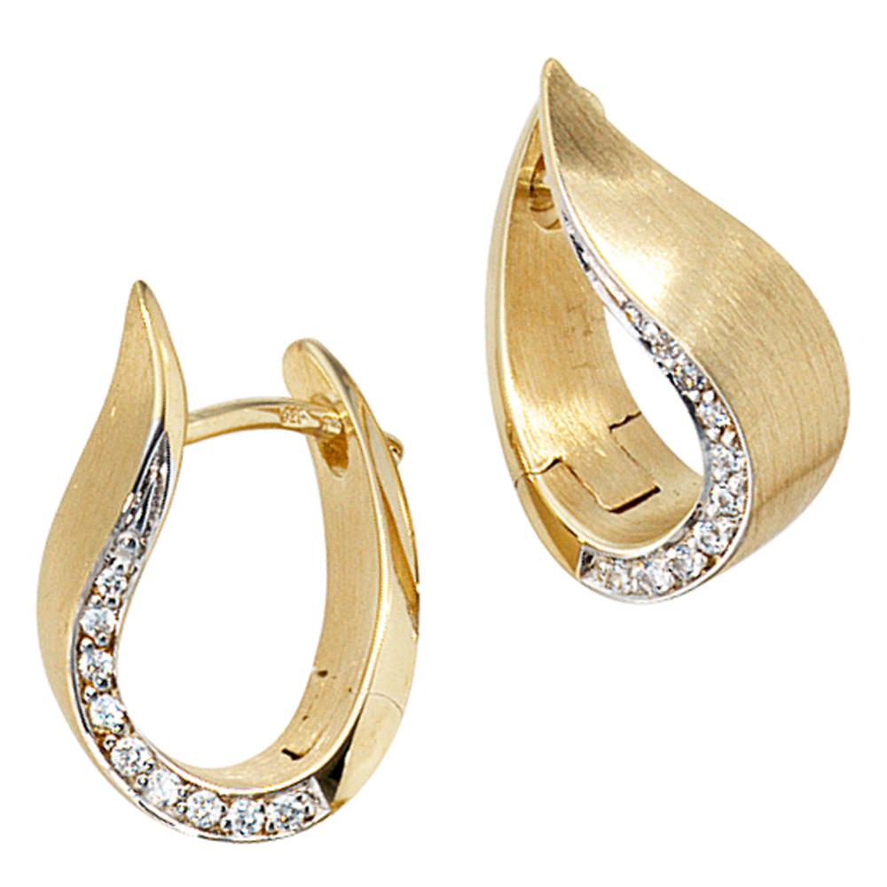 creolen 585 gold gelbgold bicolor teilmatt 18 diamanten. Black Bedroom Furniture Sets. Home Design Ideas