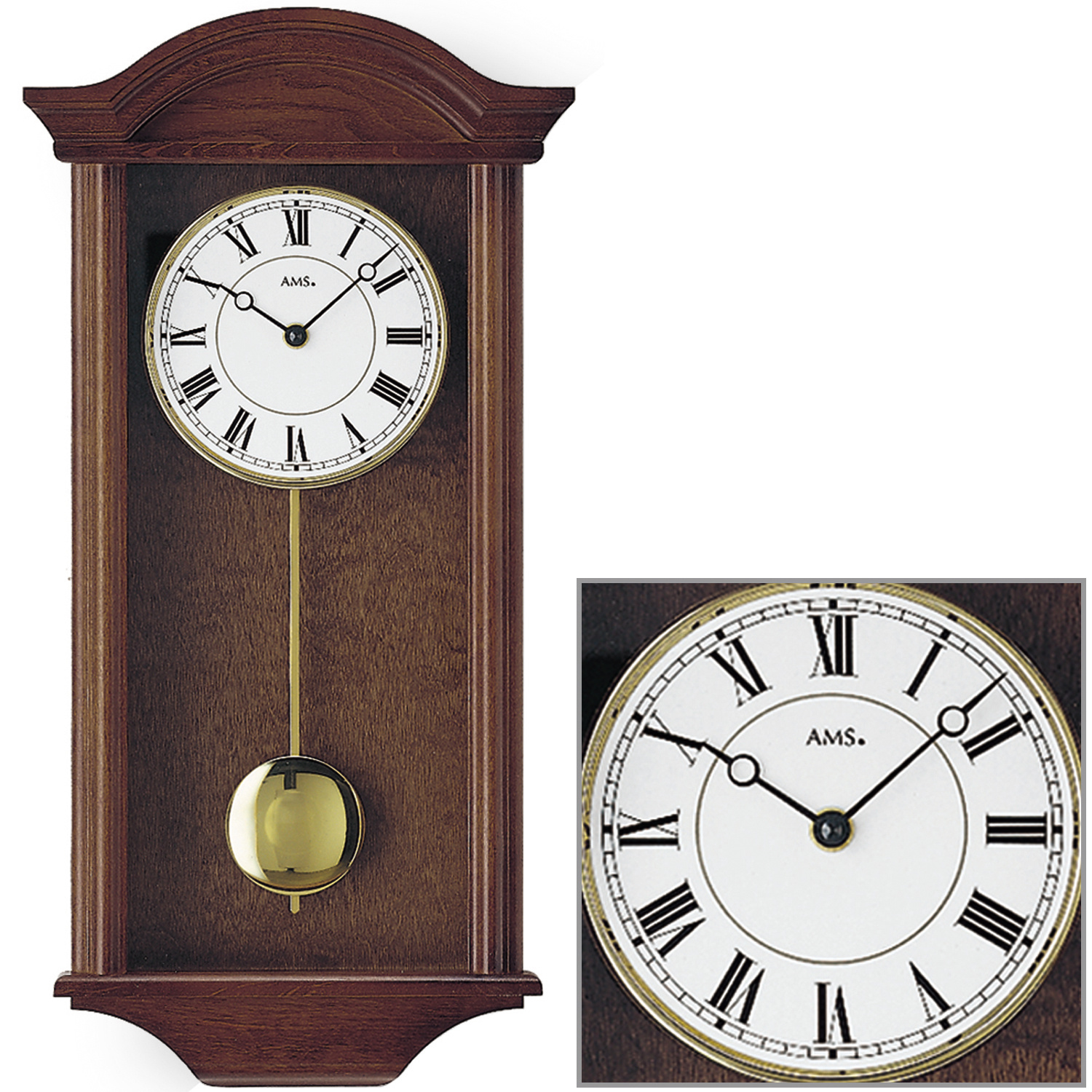 ams 990 1 horloge murale pendule quartz bois massif du salon 4 4 westminster ebay. Black Bedroom Furniture Sets. Home Design Ideas