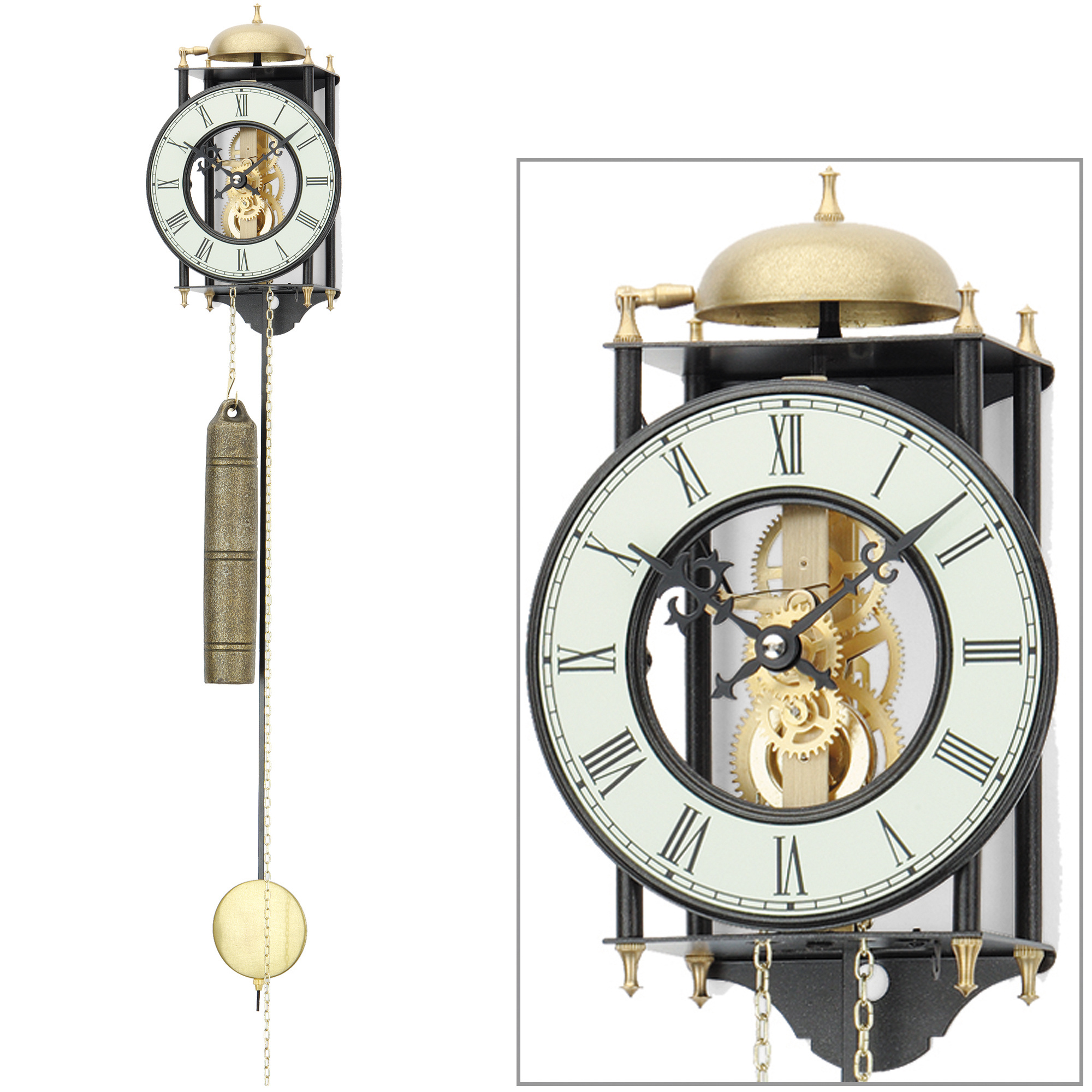 ams 302 wanduhr mit pendel mechanisch golden. Black Bedroom Furniture Sets. Home Design Ideas