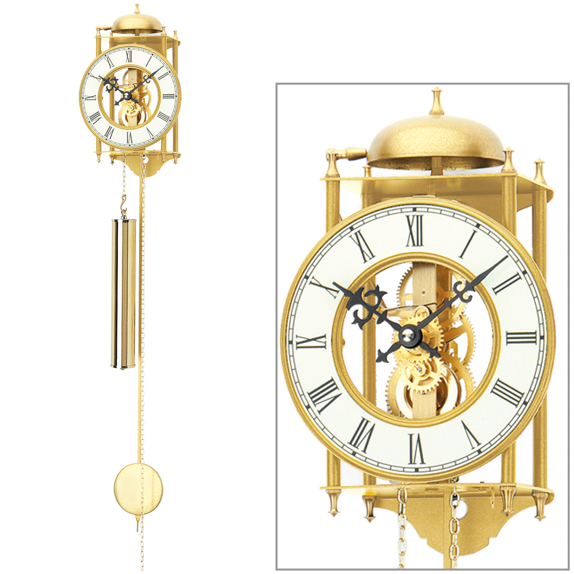 ams 303 wanduhr mit pendel mechanisch golden metall pendeluhr skelettuhr ebay. Black Bedroom Furniture Sets. Home Design Ideas
