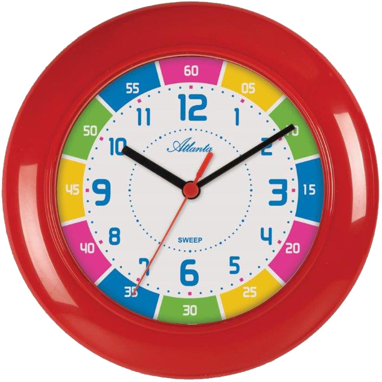 Atlanta 4430/1 Wanduhr für Kinder rot bunt leise Kinderwanduhr ohne Ticken