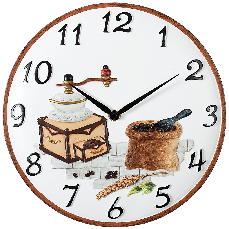 Schmuckhandel - Quarz-Küchenuhr, Motiv Kaffeemühle, Steingutgehäuse ...