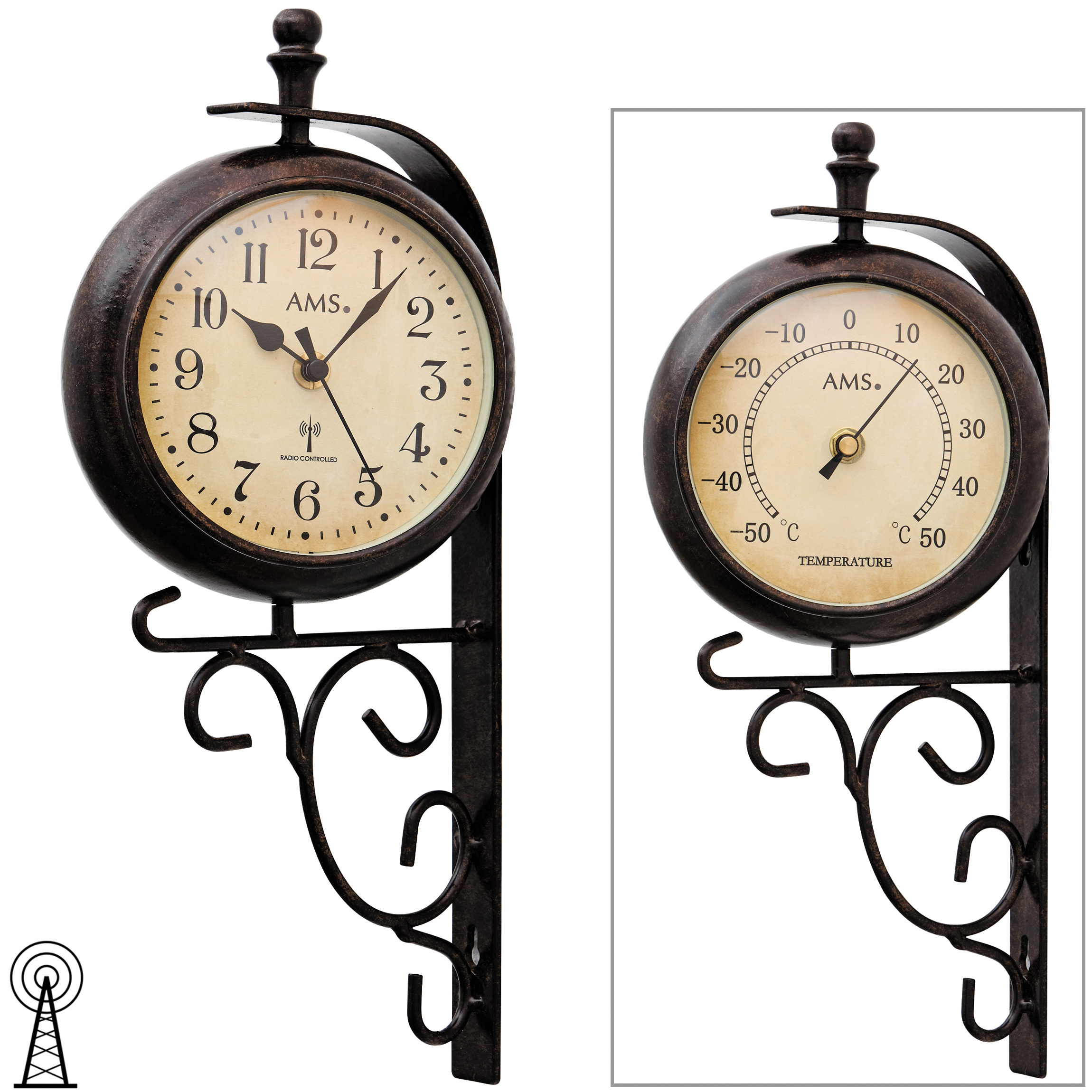 ams 5961 wanduhr funk funkwanduhr mit thermometer antik vintage retro wetterfest ebay. Black Bedroom Furniture Sets. Home Design Ideas