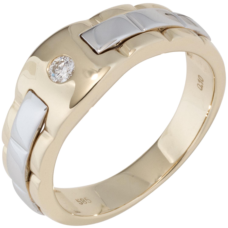1 herren ring 585 gold gelbgold wei gold bicolor 1 diamant. Black Bedroom Furniture Sets. Home Design Ideas