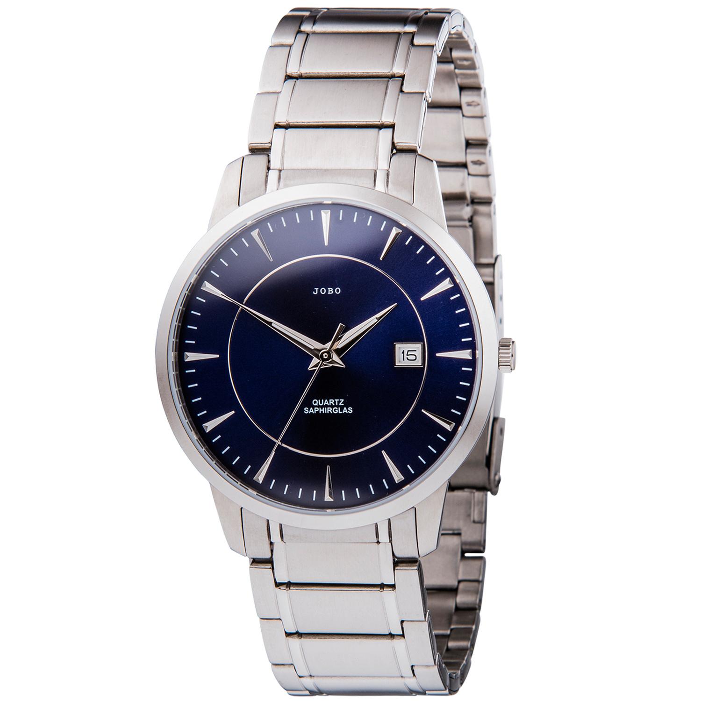 JOBO Herren Armbanduhr Quarz Analog Edelstahl Datum Herrenuhr blau