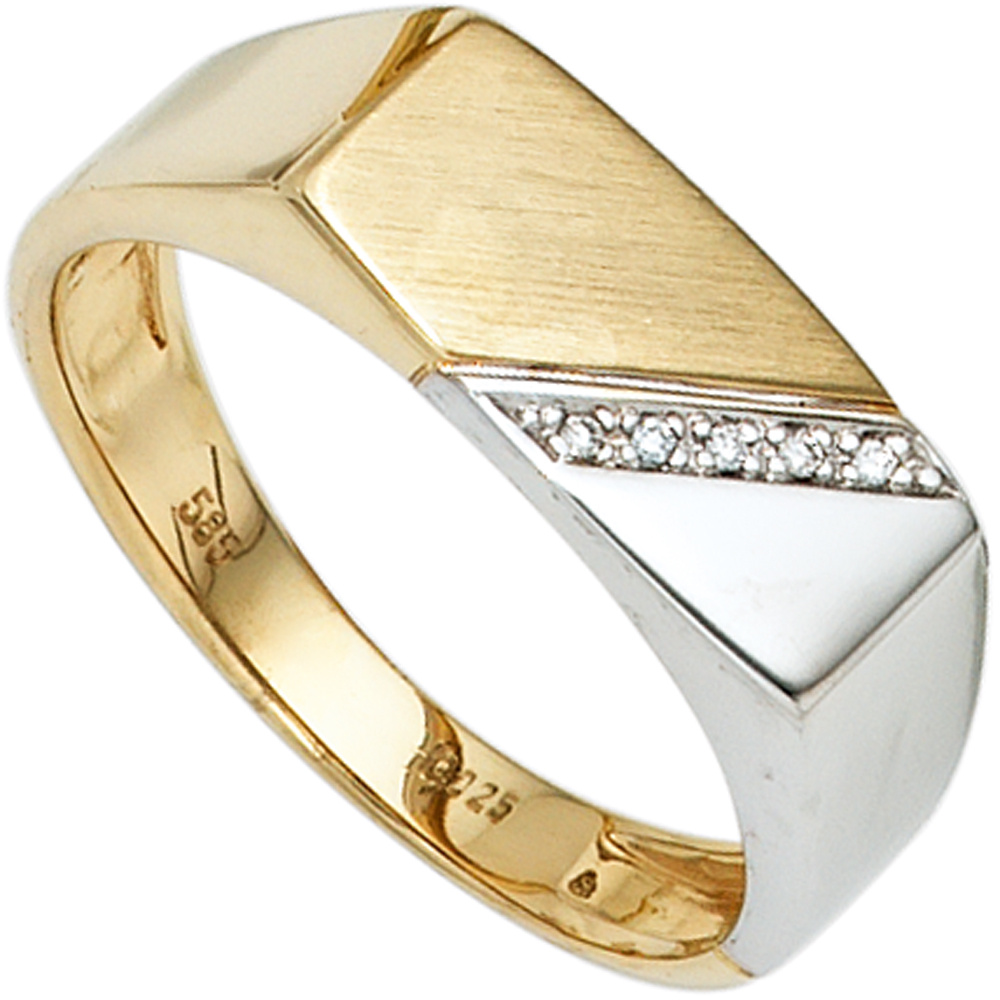 Herren Ring 585 Gold Gelbgold Weißgold bicolor 5 Diamanten Herrenring
