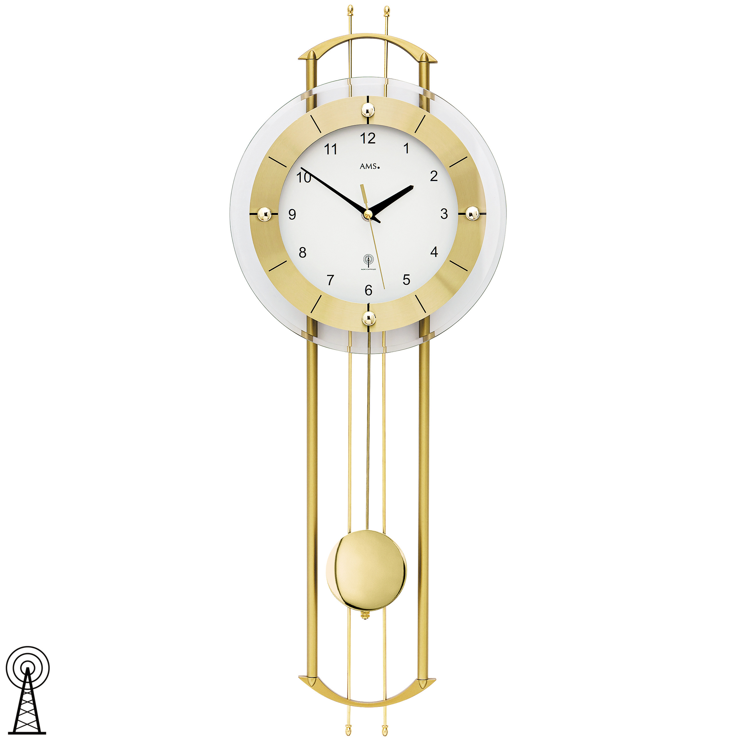 ams 5257 wanduhr funk funkwanduhr mit pendel golden modern pendeluhr mit glas 4037445151697 ebay. Black Bedroom Furniture Sets. Home Design Ideas
