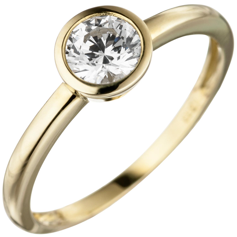 damen ring 333 gold gelbgold 1 zirkonia goldring ebay. Black Bedroom Furniture Sets. Home Design Ideas