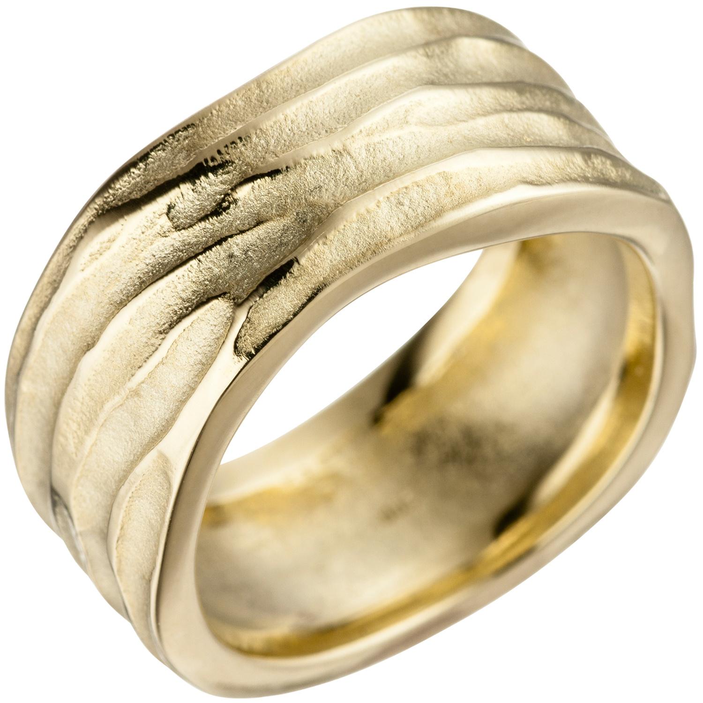 Goldring breit  Goldring breit matt 585 Gold Gelbgold mattiert Damen Ring 46881 | eBay