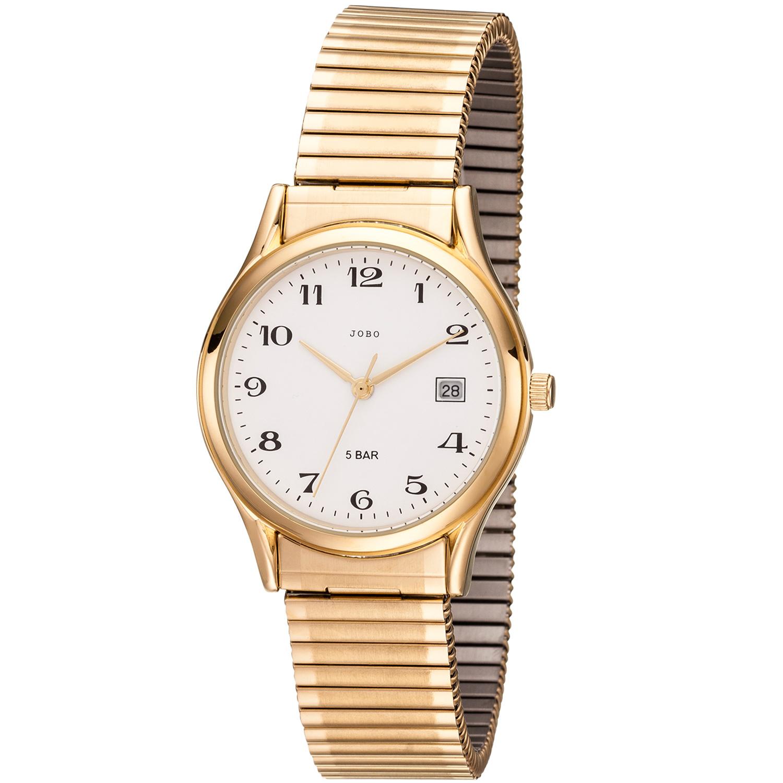JOBO Herren Armbanduhr Quarz Analog Edelstahl god vergoldet Flexband Datum