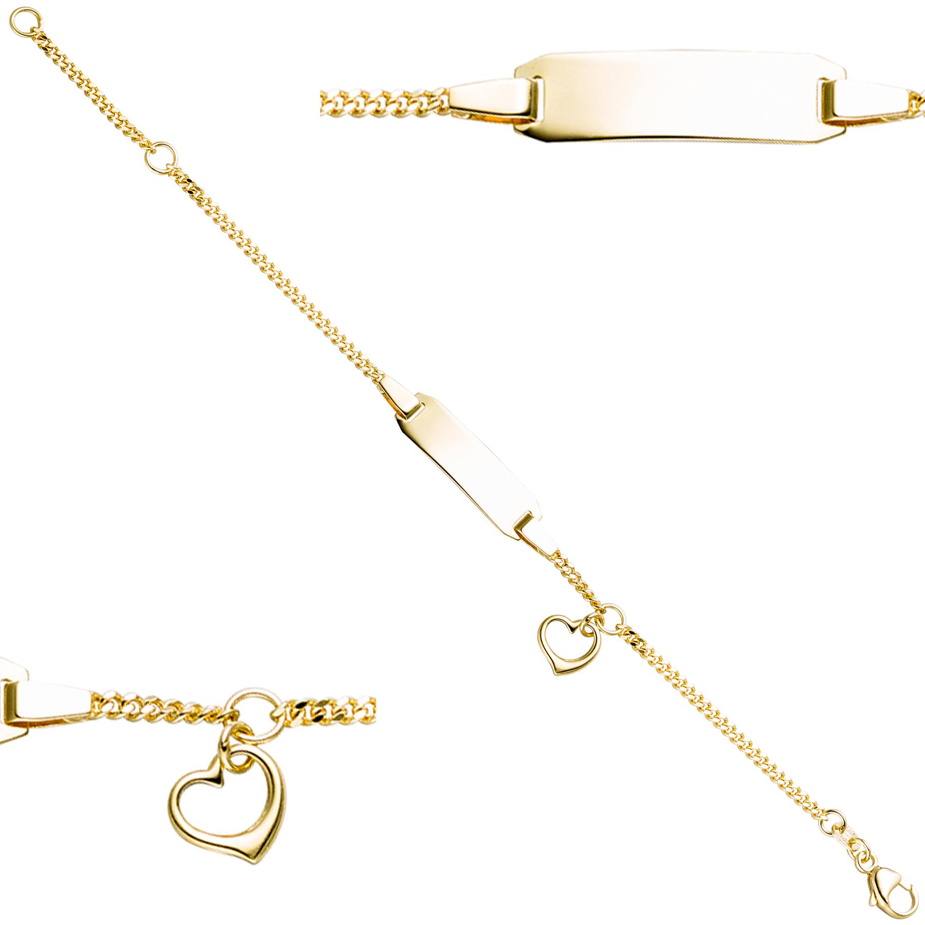 schildband mit herz 333 gold gelbgold gravur id armband ebay. Black Bedroom Furniture Sets. Home Design Ideas