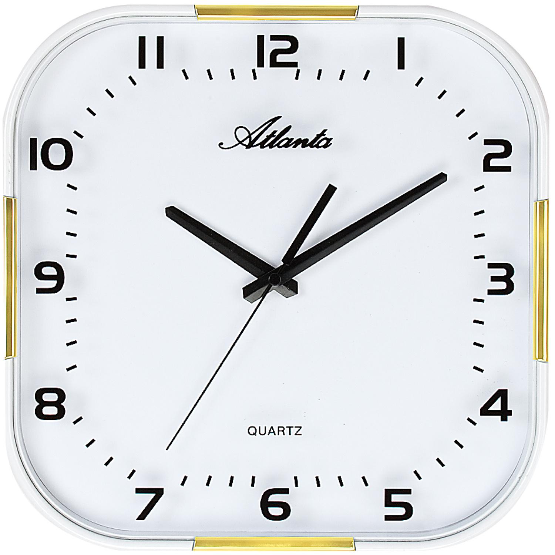 atlanta 4455 9 wanduhr quarz analog wei golden mit glas. Black Bedroom Furniture Sets. Home Design Ideas