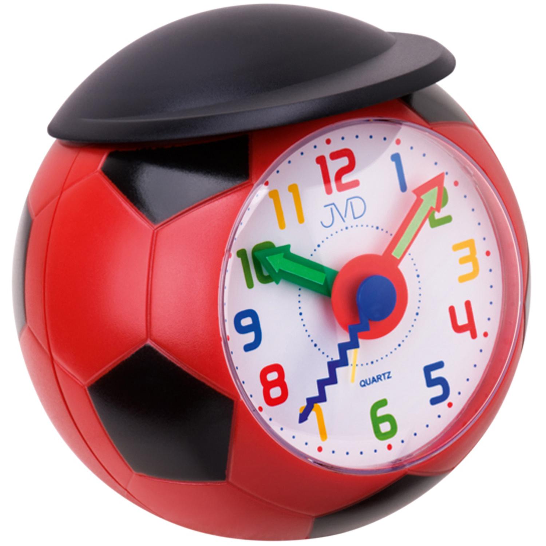 JVD SR819.1 Wecker Kinderwecker Rot Schwarz Fußball Fußballwecker Für Kinder