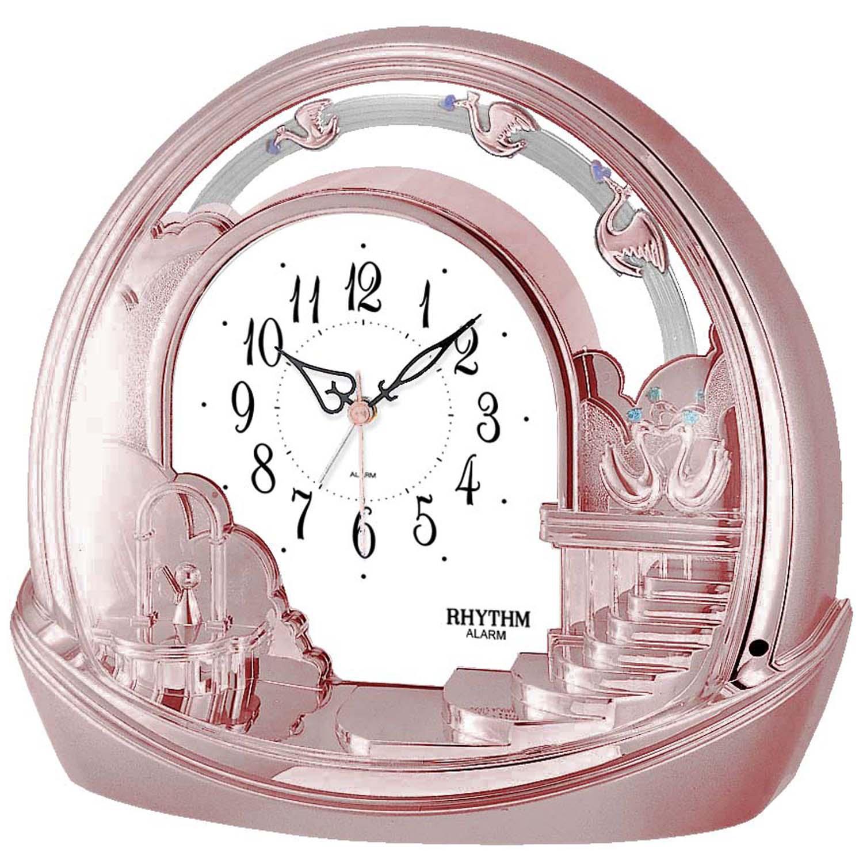 Rhythm 7443/18 Tischuhr Quarz mit Pendel rosa roségold farben mit Weckfunktion