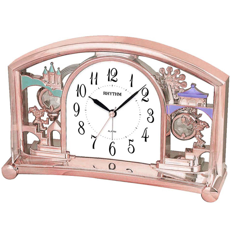Rhythm 7535/18 Tischuhr Quarz mit Pendel rosa roségold farben mit Weckfunktion