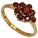 Damen Ring 375 Gold Gelbgold 9 Granate rot Goldring Granatring