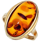 Damen Ring 375 Gold Gelbgold 1 Bernstein-Cabochon orange Bernsteinring Goldring