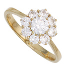 Damen Ring 375 Gold Gelbgold 9 Zirkonia Goldring