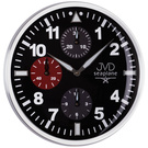 JVD HA15.1 Wanduhr Quarz analog schwarz rund funktionslose Chronograph-Optik