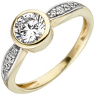 Damen Ring 375 Gold Gelbgold bicolor 9 Zirkonia Goldring