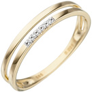 Damen Ring 585 Gold Gelbgold 5 Diamanten Brillanten Goldring Diamantring