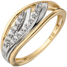 Damen Ring 375 Gold Gelbgold bicolor 15 Zirkonia Goldring