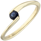 Damen Ring 333 Gold Gelbgold 1 blauer Safir Goldring