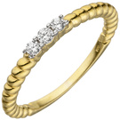 Damen Ring 333 Gold Gelbgold 3 Zirkonia Goldring